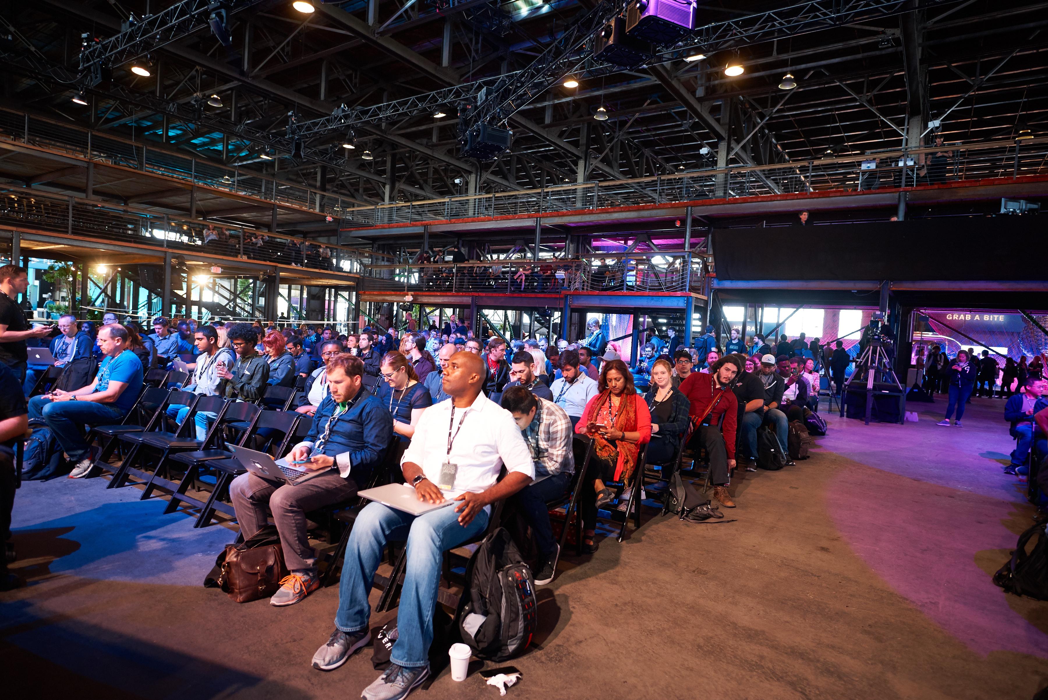 huge crowd at GitHub event